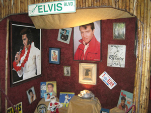 The shrine to Elvis at San Clemente restaurant in Dominical